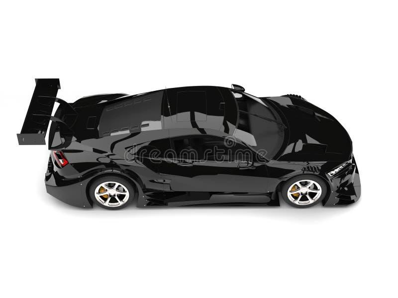 Koele zwarte sporten super auto - top down mening stock illustratie