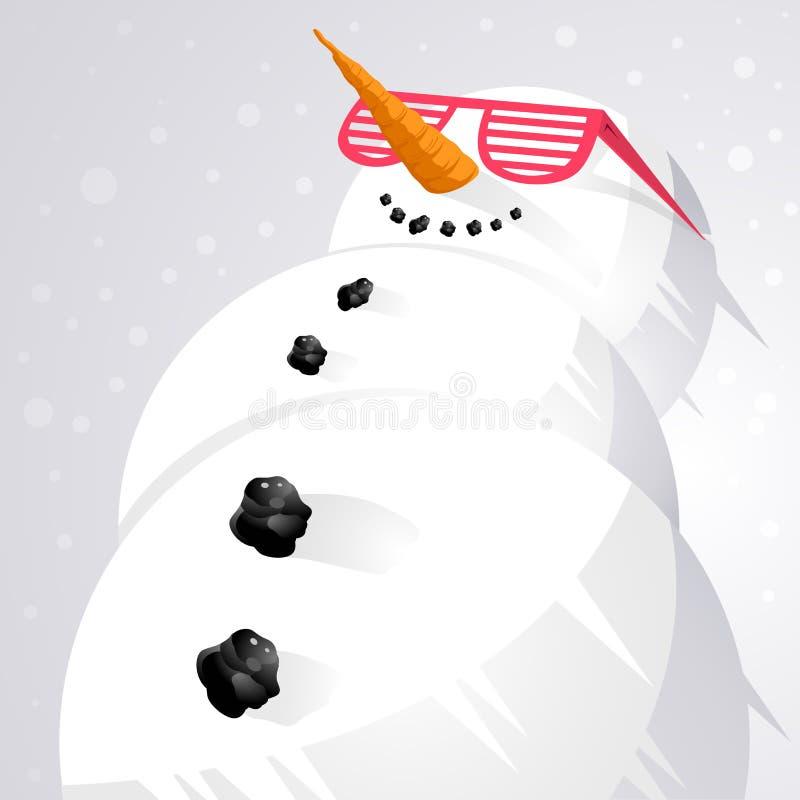 Koelende Sneeuwman! stock illustratie