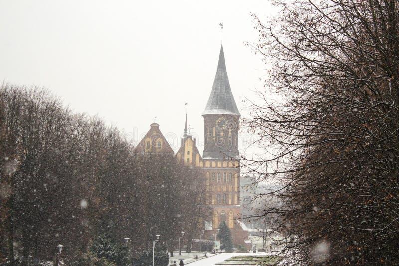 Koenigsberg domkyrka - gotisk tempel av det 14th århundradet Symbolet av Kaliningrad till 1946 Koenigsberg, Ryssland arkivfoton