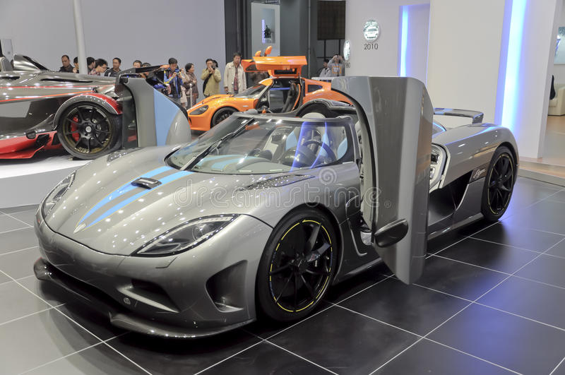 Sweden Koenigsegg AGERA Super Sports Car, In Its Exhibition Hall,in 2010  International Auto Show GuangZhou. It Is From 20/12/2010 To 27/12/2010.  Photo Taken ...