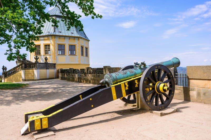 KOENIGSTEIN,德国- 2017年5月:在黄色和黑装饰的炮架在Konigstein堡垒 用于Eur的这些围困枪 库存照片