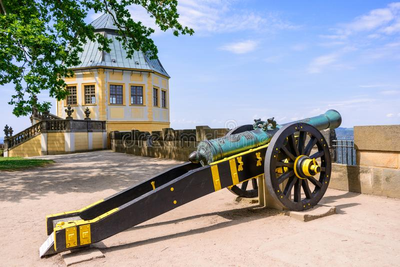 KOENIGSTEIN, GERMANY - MAY 2017: a gun carriage decorated in yellow and black in Konigstein Fortress. These siege guns used in Eur. Opean warfare during the 16th stock photos