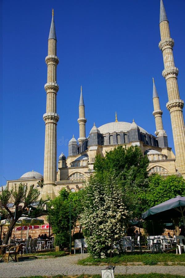 Koepel en minaretten van de Moskee van Selimiye van Sinan stock afbeeldingen