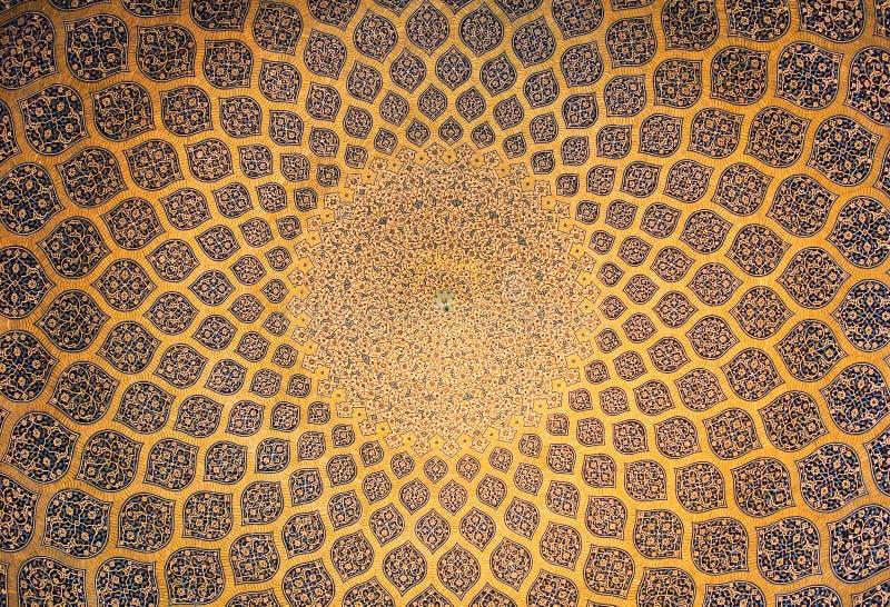 Koepel van de moskee, oosterse ornamenten, Isphahan stock afbeelding