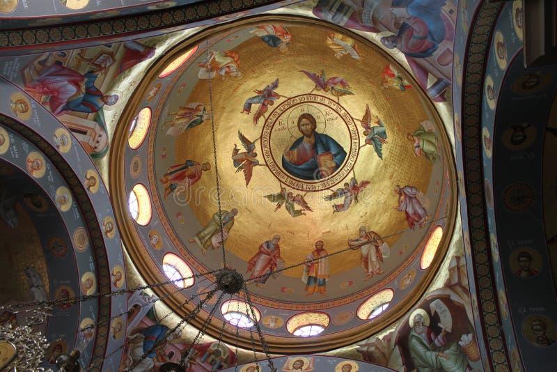 Koepel van de Orthodoxe Kerk in Capernaum stock fotografie