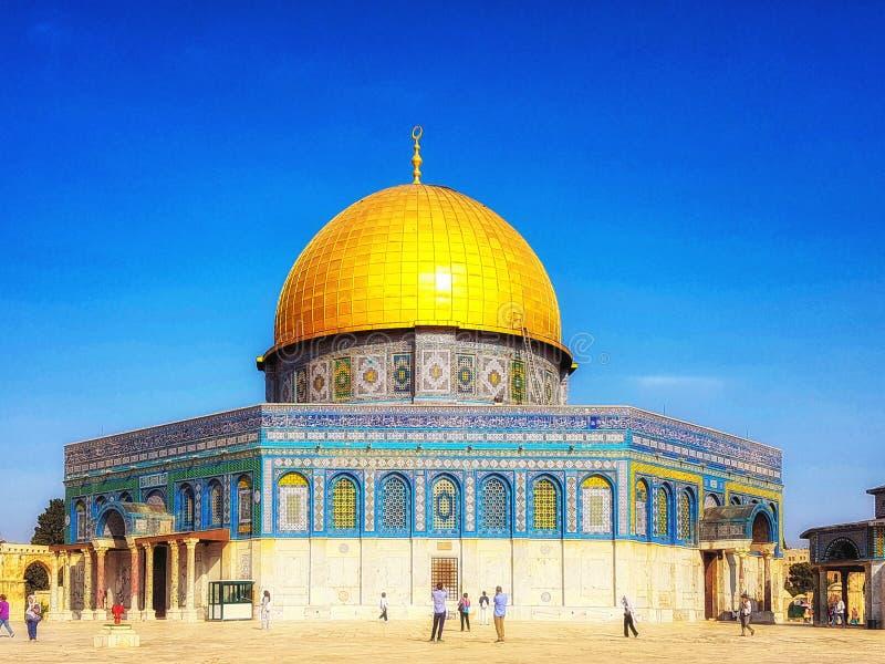 Koepel van de Rots, Qubbat al-Sakhrah, Jeruzalem, Isra?l stock foto's