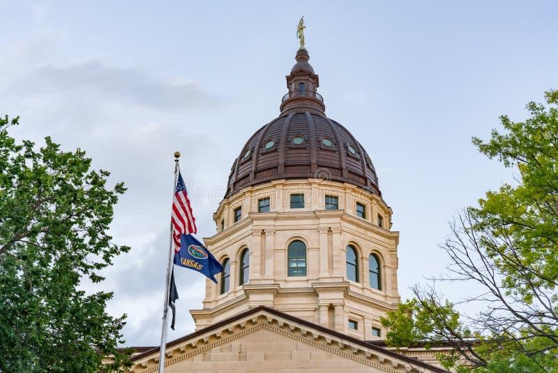 Koepel van het Hoofdgebouw van de Staat van Kansas stock afbeelding