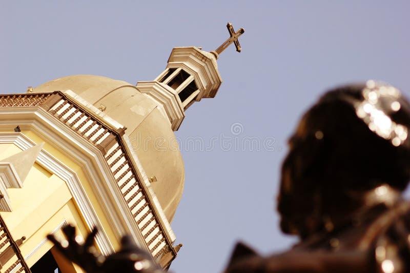 Koepel van Kerk, Lima, Peru stock foto's