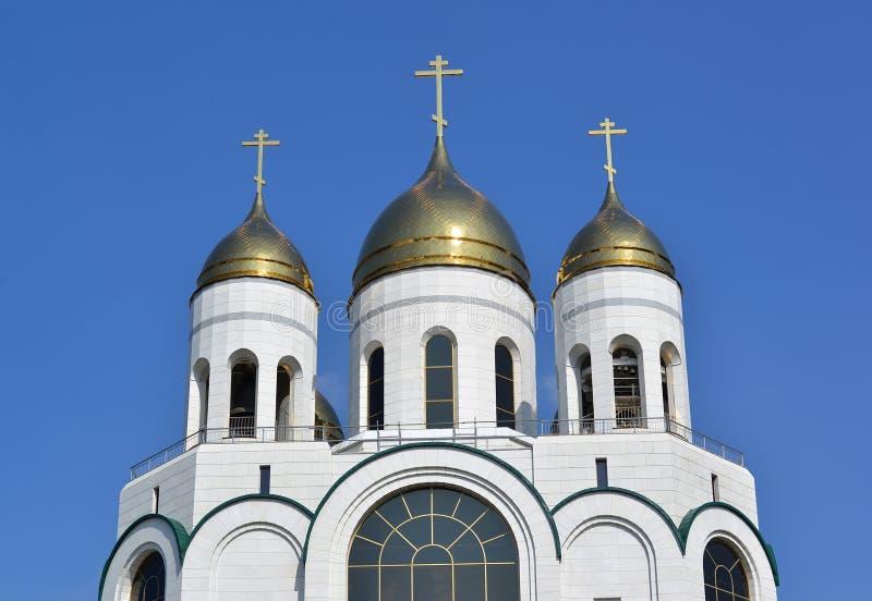 Koepels van de Kathedraal van Christus de Verlosser tegen de hemel Kaliningrad stock foto's