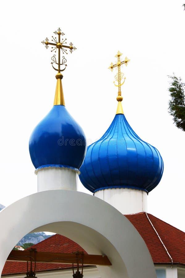Koepels van een Orthodoxe kerk royalty-vrije stock foto's