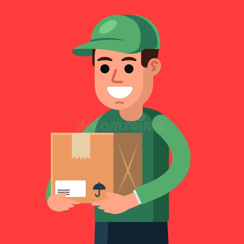 Koerier met een pakket in zijn handen vrachtaflevering vector illustratie