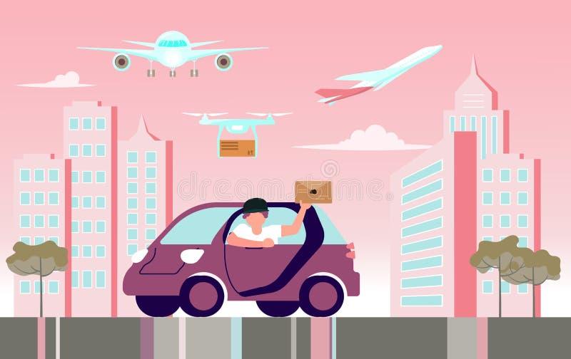 Koerier per auto vector illustratie