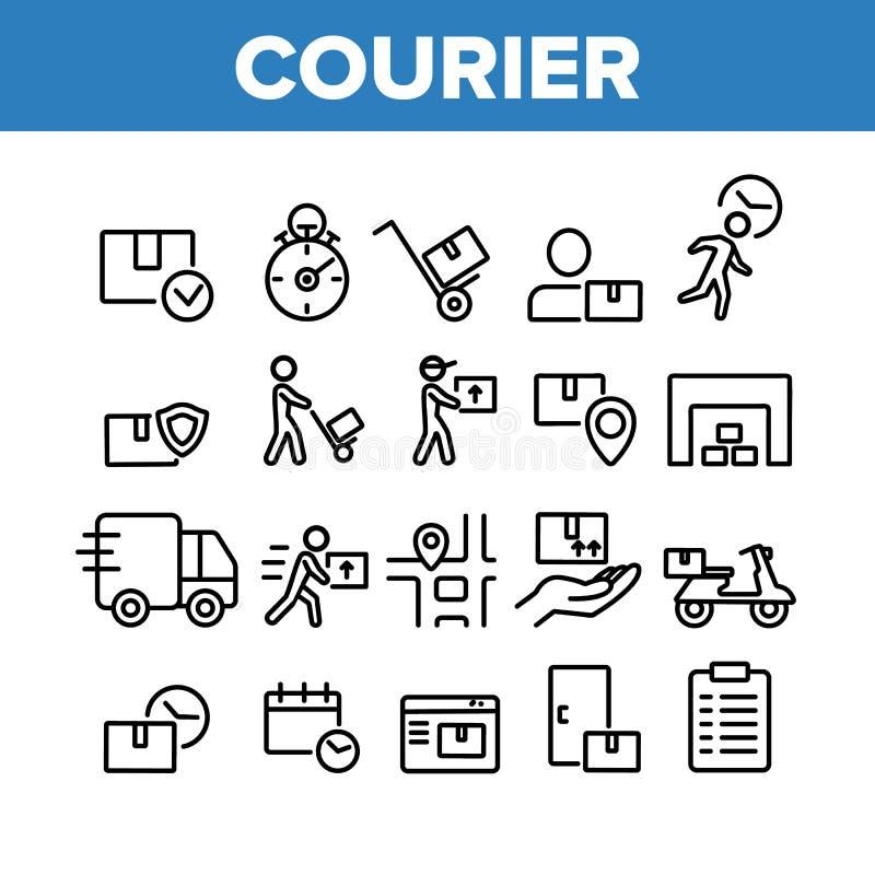 Koerier Post Collection Elements icons Set Vector stock illustratie