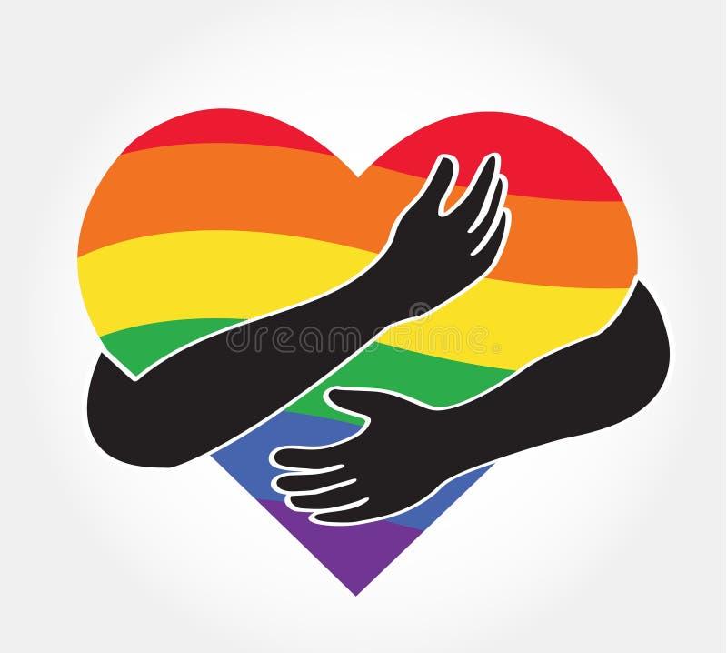 Koester het regenbooghart, liefdelgbt symbool vector illustratie