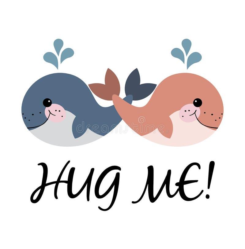 KOESTER ME! Het meisje van de beeldverhaalwalvis en walvisjongen klaar voor omhelzing royalty-vrije illustratie