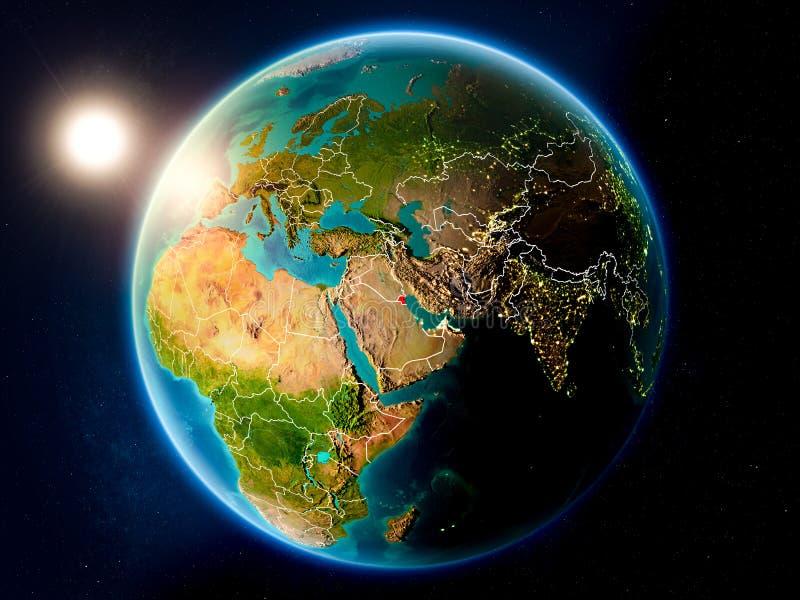 Koeweit met zonsondergang van ruimte stock afbeeldingen