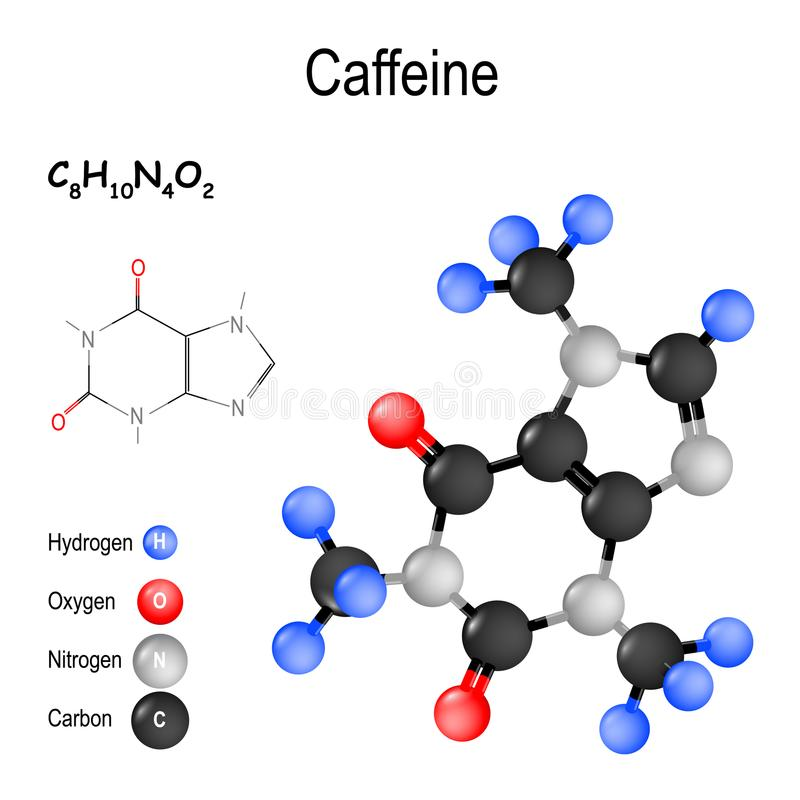 koffein Struktur av en molekyl stock illustrationer