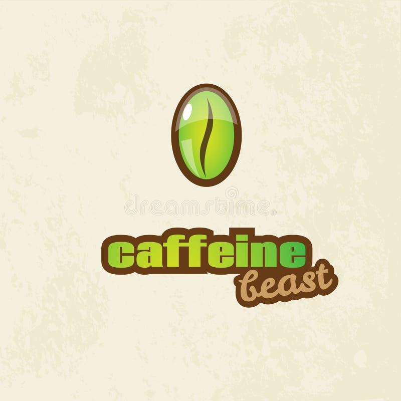 Koffein-Tier, Vektor-Logo, grünes Caffe Bean lizenzfreie abbildung