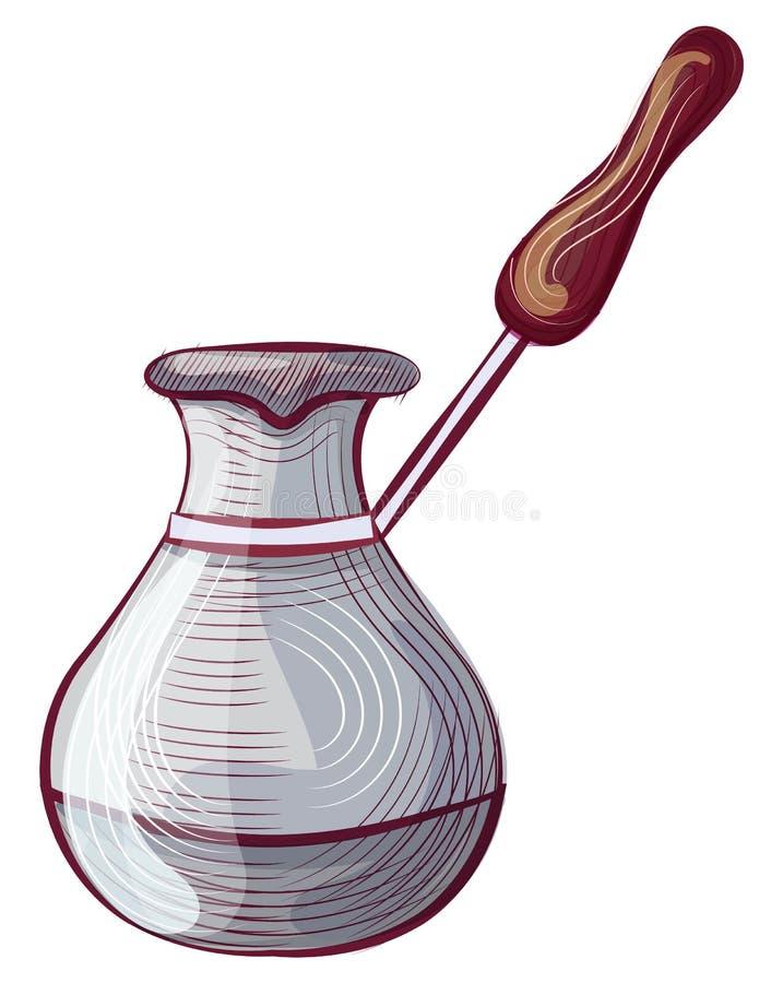 Koffeindrinken, metallkruka, rånar med handtagvektorn stock illustrationer