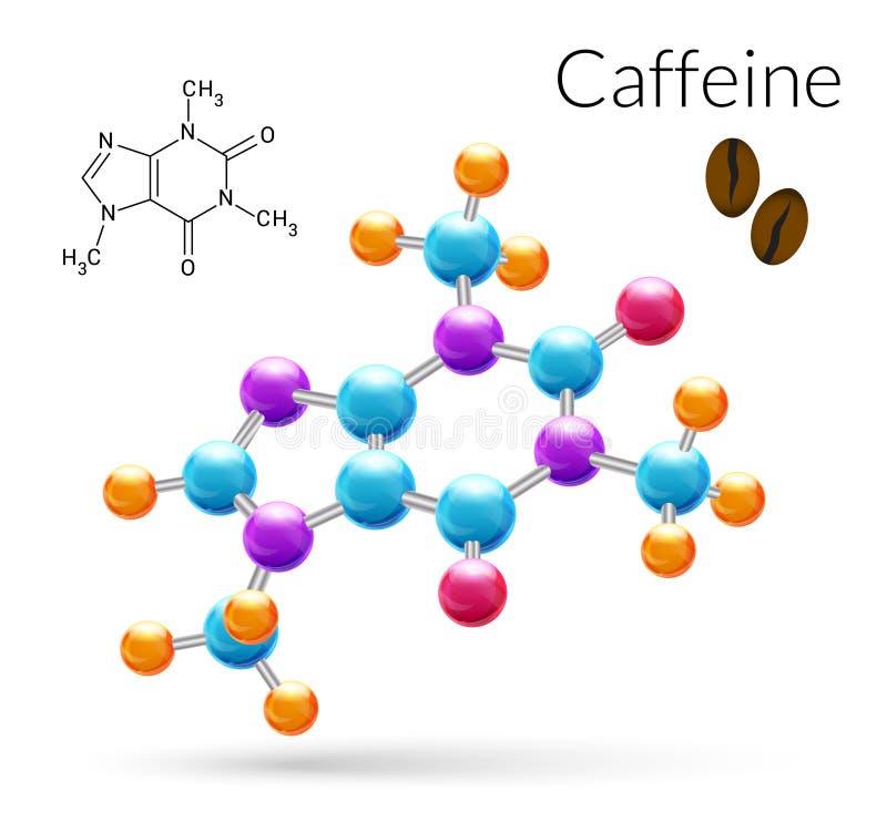 Koffeinmolekyl 3d stock illustrationer