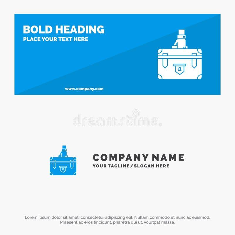 Koffer, Aktentas, Zaken, Geval, Documenten, Marketing, de Websitebanner en Zaken Logo Template van het Portefeuille Stevige Picto royalty-vrije illustratie