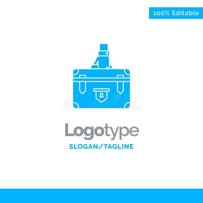 Koffer, Aktentas, Zaken, Geval, Documenten, Marketing, Portefeuille Blauw Stevig Logo Template Plaats voor Tagline stock illustratie