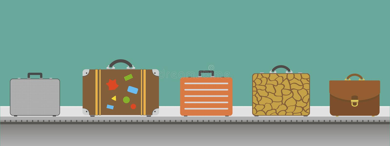 Koffer of bagage met transportband in de luchthaven vector illustratie