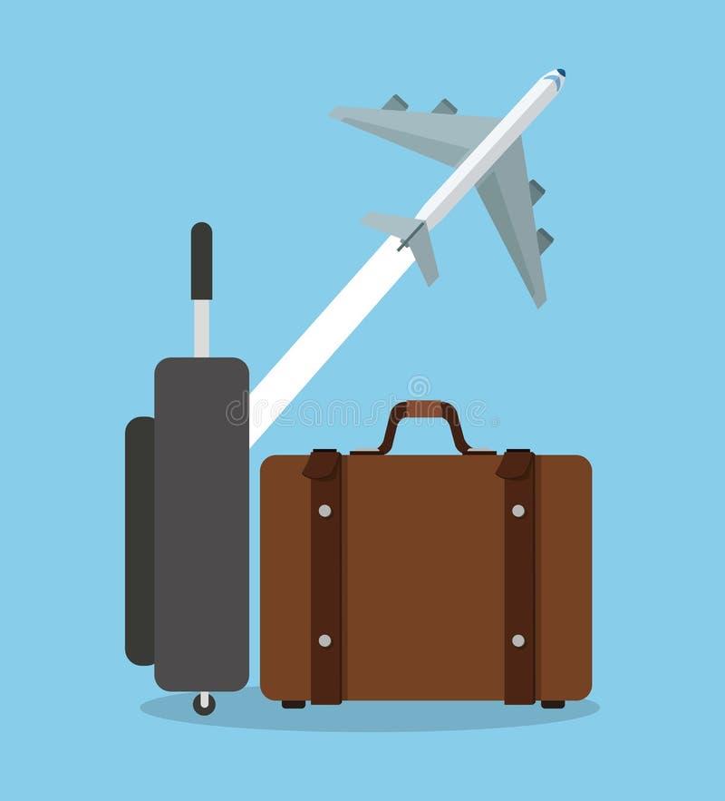 Koffer en vliegtuigontwerp vector illustratie