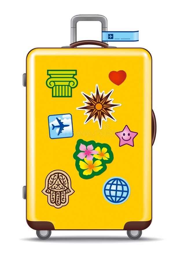 Koffer für Reise mit Aufklebern