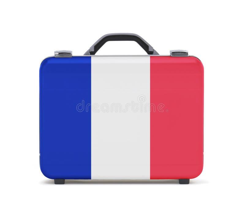 Koffer für Reise mit Flagge von Franzosen lizenzfreie stockbilder