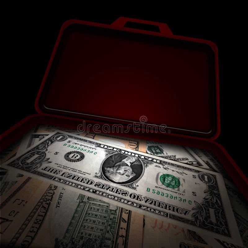 Koffer geld stock illustratie