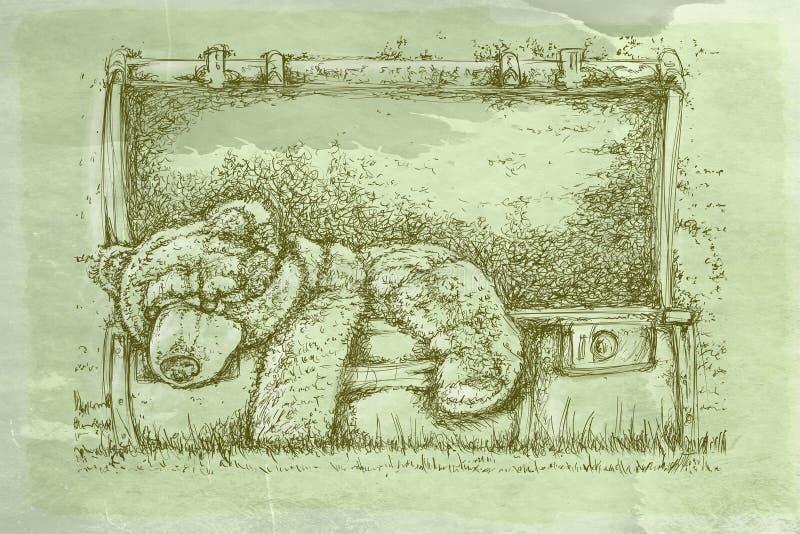 Koffer met beer met antieke basis vector illustratie