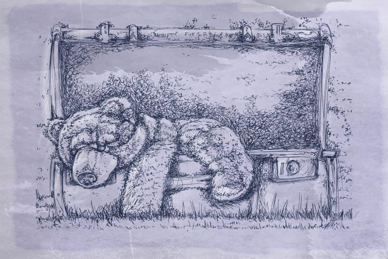 Koffer met beer met antieke basis royalty-vrije illustratie