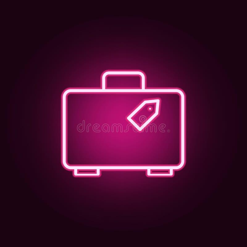 koffer met markeringspictogram Elementen van Web in de pictogrammen van de neonstijl Eenvoudig pictogram voor websites, Webontwer stock illustratie
