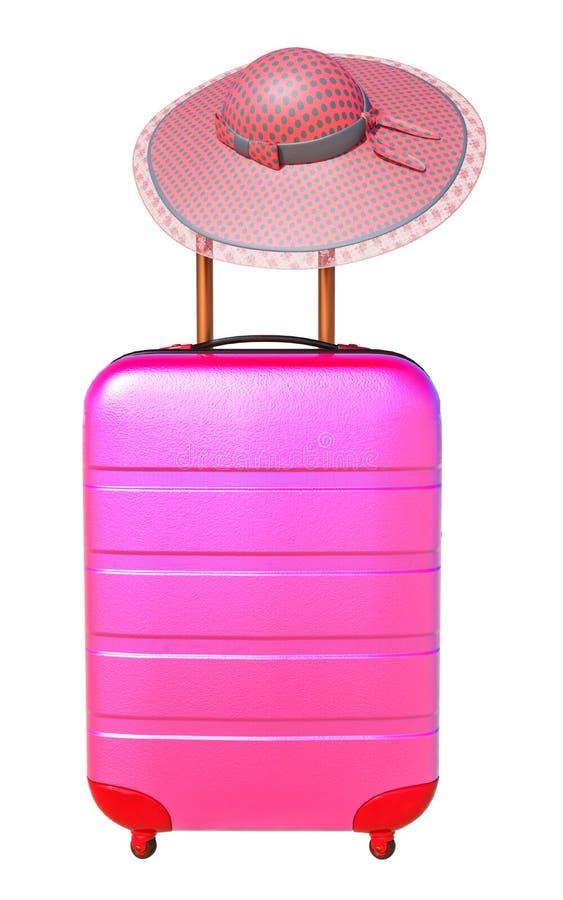 Koffer met zonhoed Het concept van de reisbagage Minimale stijl stock illustratie