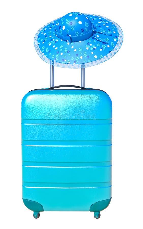 Koffer met zonhoed Het concept van de reisbagage Minimale stijl royalty-vrije illustratie