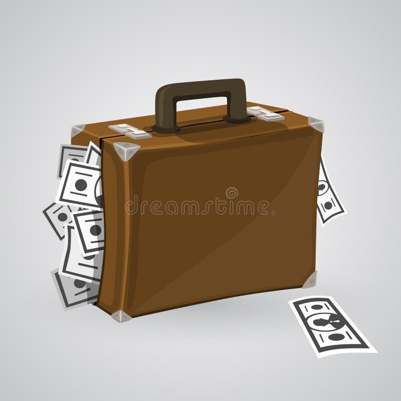 Koffer mit Geld stock abbildung