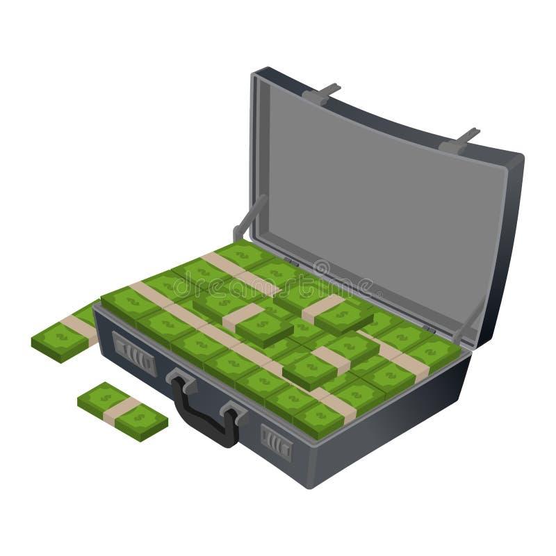 Koffer mit Geld Fall mit Bargeld Koffer mit Dollar wad vektor abbildung