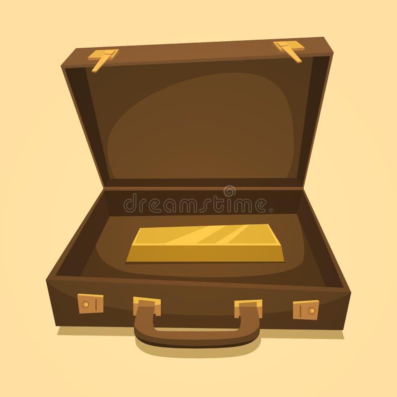 Koffer mit Goldbarren vektor abbildung