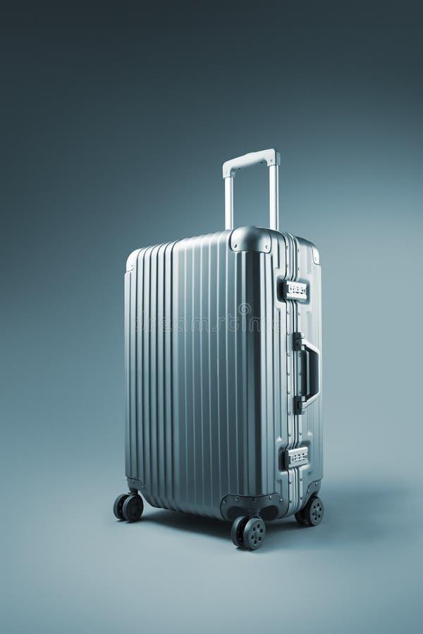 koffer op blauwe achtergrond royalty-vrije stock afbeeldingen