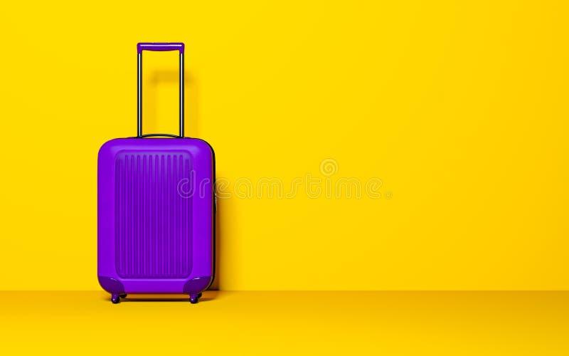 Koffer op pastelkleurachtergrond Het concept van de reisbagage royalty-vrije illustratie