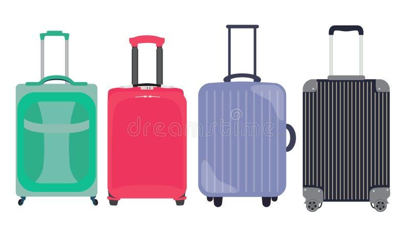 Koffer, Reise-Taschen-flache Ikonen-gesetzte Sammlung Vektor illustrati vektor abbildung