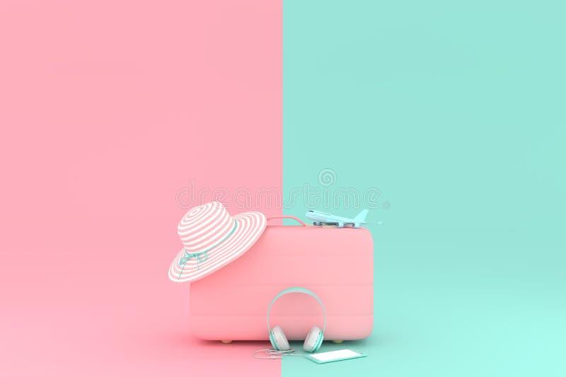 Koffer roze kleur met modelvliegtuig vector illustratie