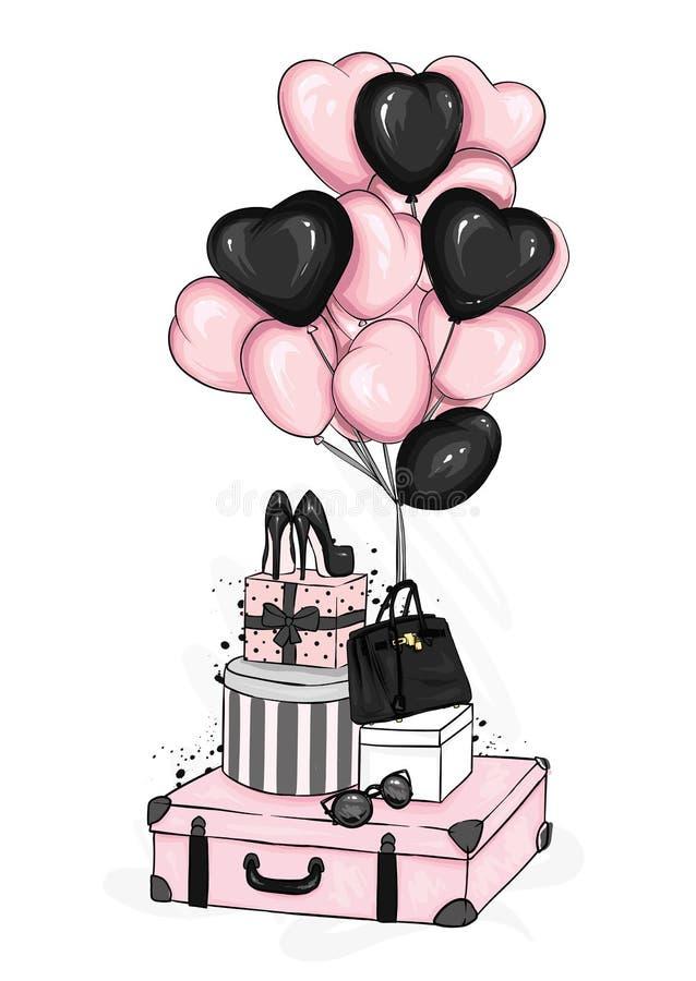Koffer, Tasche, Schuhe und Mode-Accessoires mit Herz-förmigen Ballonen Nachtisch Vektorillustration für Grußkarte oder -plakat vektor abbildung