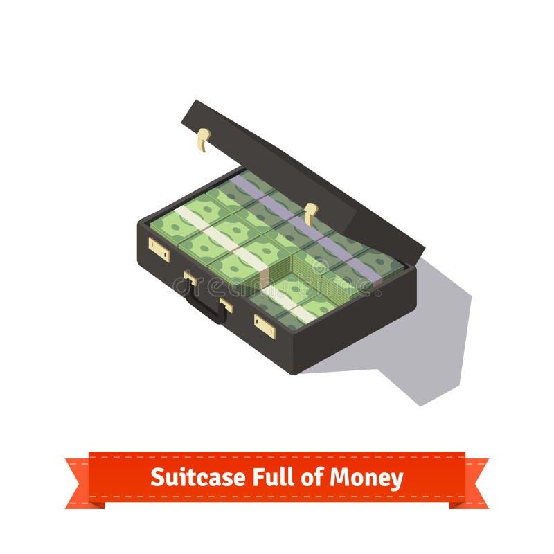 Koffer voll Geld Dollar Stapel vektor abbildung