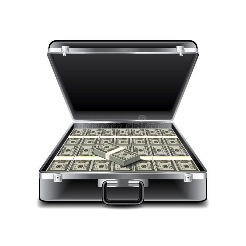 Koffer voll Geld lokalisiert auf weißem Vektor lizenzfreie abbildung