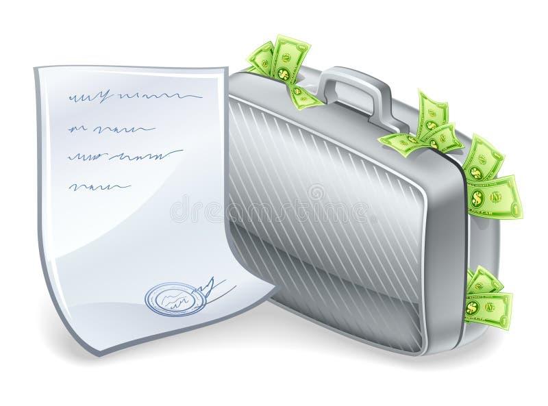 Koffer voll Geld mit dem Blatt nahe gelegen. stock abbildung