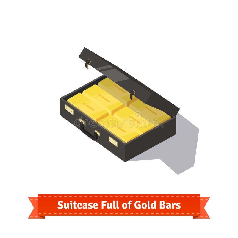 Koffer voll Goldstäbe Dollar Stapel stock abbildung