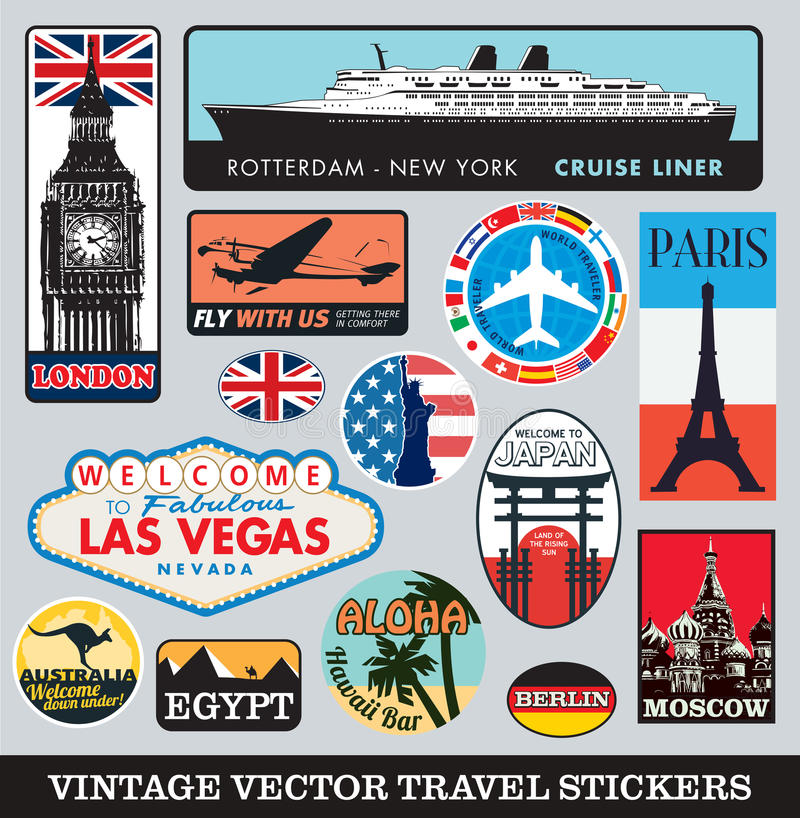Kofferaufkleber-Vektorsatz stock abbildung