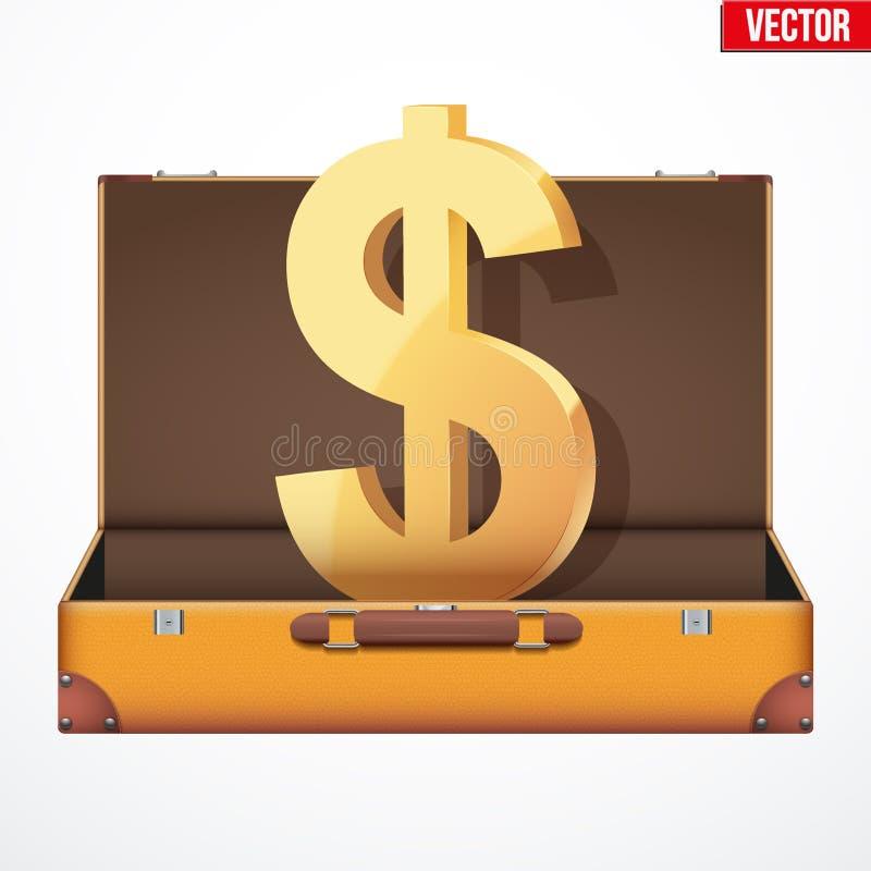 Koffergeld-Vektorillustration vektor abbildung